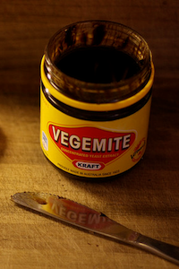 Jar of open vegemite