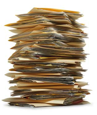 A large pile of paperwork