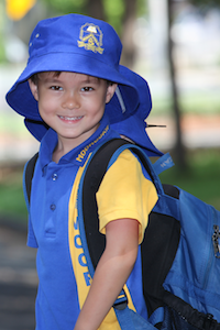 Young student with backpack
